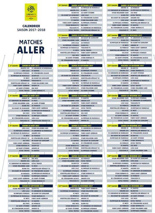 Calendrier L1 Psg.Ligue 1 Conforama Decouvrez Le Calendrier Complet De La