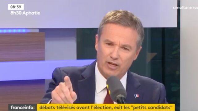 Écarté du premier débat de la présidentielle sur TF1, Nicolas Dupont-Aignan menace d'attaquer la chaîne
