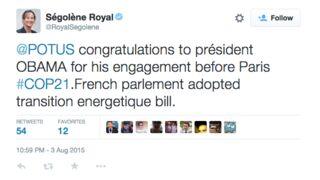 Twitter : Ségolène Royal se trompe de mot en anglais... et félicite Obama pour ses fiançailles