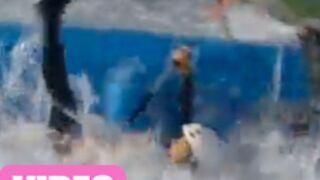 Téléthon : Tania Young tombe à l'eau ! (VIDEO)