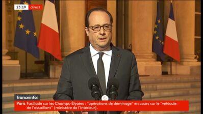 Fusillade aux Champs-Elysées : François Hollande s'est exprimé depuis l'Elysée et a annoncé un hommage national au policier décédé (VIDEO)