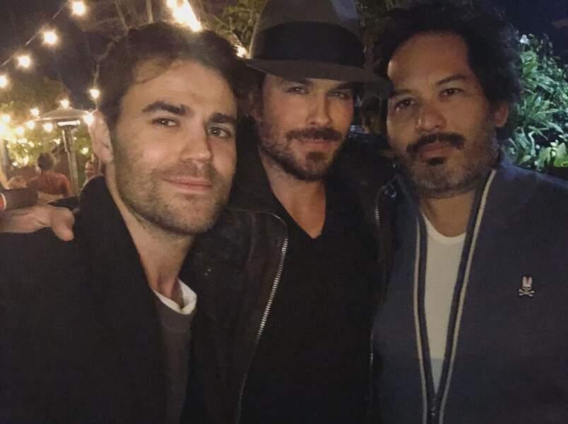 De belles retrouvailles : Paul Wesley, Ian Somerhalder et Geoff Shotz de la team Vampires Diaries.