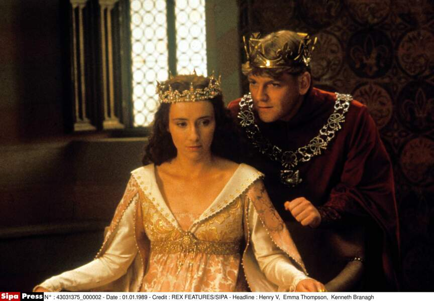 Elle joue Catherine de Valois dans Henry V en 1989, l'année de son mariage avec Kenneth Branagh (à droite)