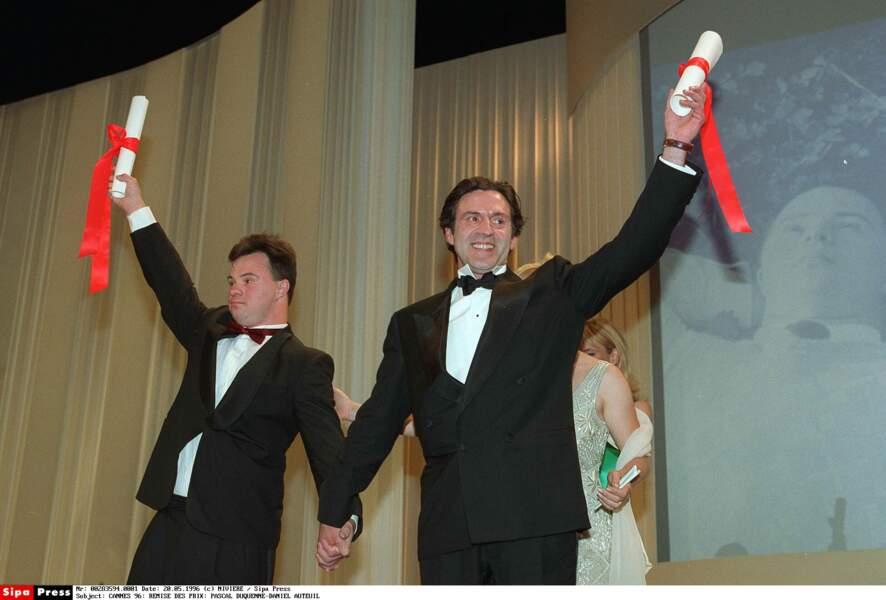 """1996 : Daniel Auteuil et Pascal Duquesne, acteur handicapé, prix d'interprétation pour """"le huitième jour"""""""