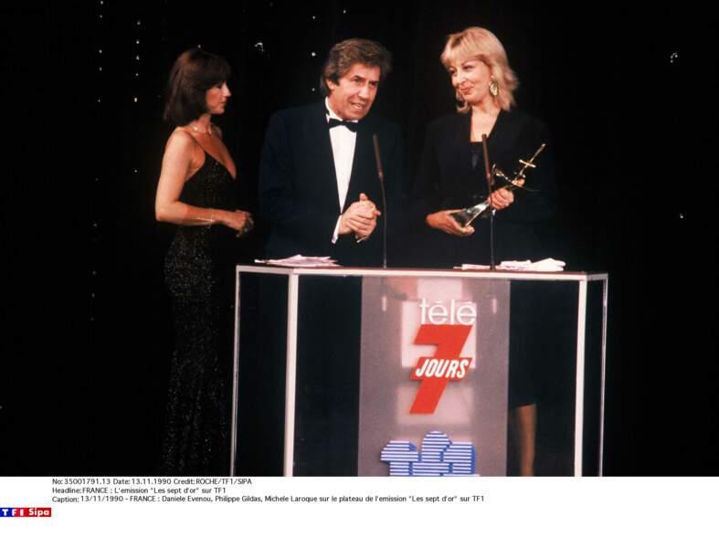 """Daniele Evenou, Philippe Gildas, Michele Laroque sur le plateau de l'émission """"Les sept d'or"""""""