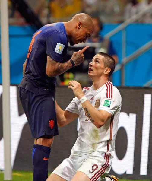 Vendredi dernier, Fernando Torres avait lui aussi passé un sale quart d'heure face à Nigel de Jong...