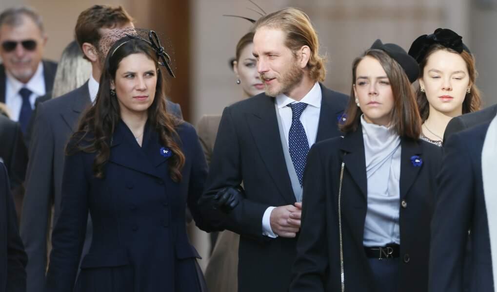 Tatiana Santo-Domingo, Andrea Casiraghi, Pauline Ducruet et Alexandra d'Hannovre à la sortie de la messe
