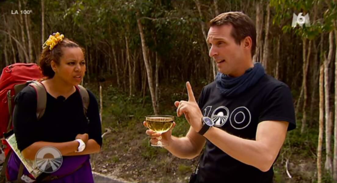 Pendant ce temps Stéphane boit du champagne TRANQUILLE LE MEC (en fait les candidats doivent courir avec une coupe)