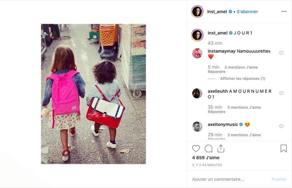 Quand Hana accompagne sa grande sœur Sofia à l'école, leur maman Amel Bent fond