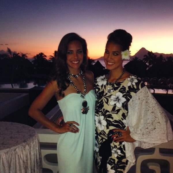 Elle n'est pas la seule à profiter de la chaleur : à Tahiti, Marine Lorphelin et les Miss profitent !