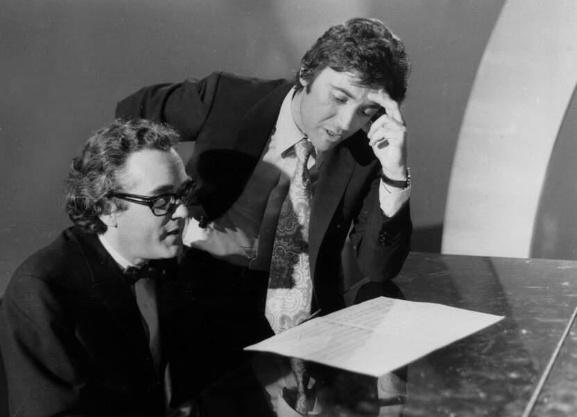 Sacha Distel et Michel Legrand en répétition aux studios du Moulin de la Galette le 20 février 1971