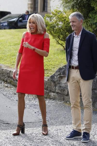 Brigitte Macron et le maire d'Espelette Jean-Marie Iputcha