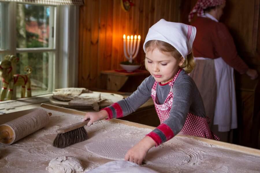 Estelle préfère jouer les boulangères à l'approche de Noël 2015