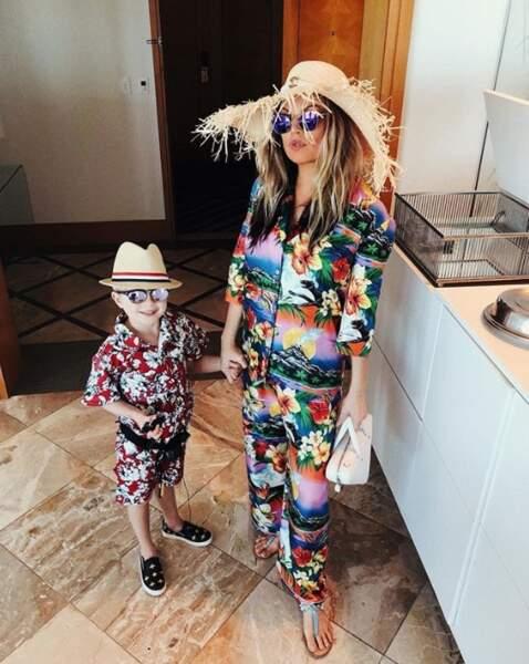 Ambiance tropicale pour Fergie et son fils Axl.