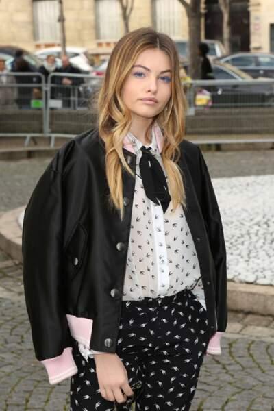 Thylane Blondeau, 15 ans et déjà accro à la mode. La voici chez Miu Miu.