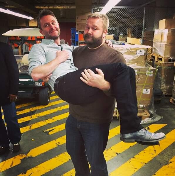 Robert Kirkman (créateur des comics TWD) et Chris Hardwick (animateur du show Talking Dead)