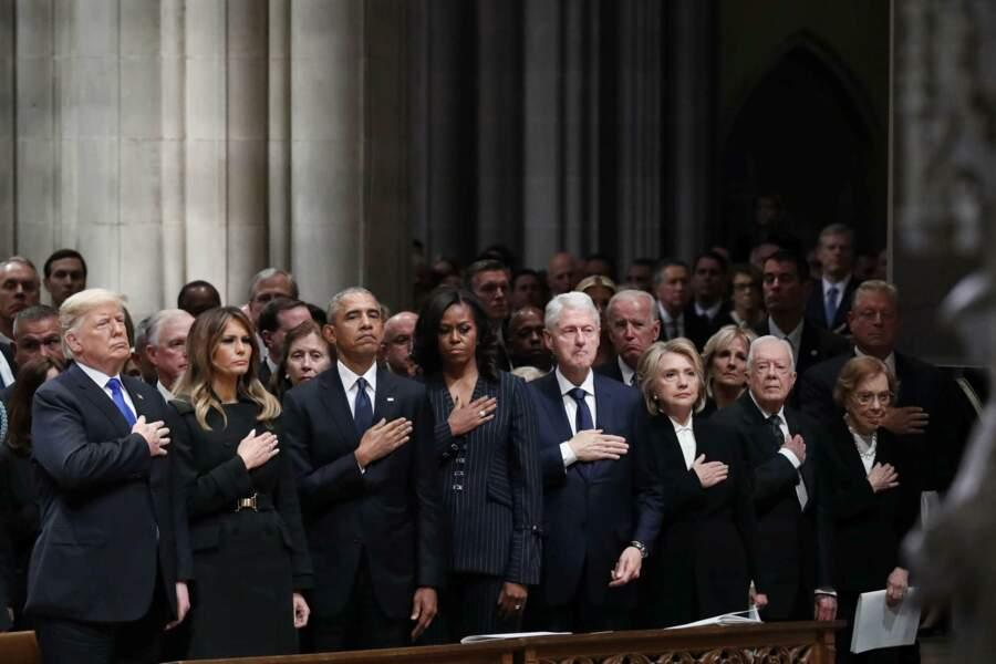 De gauche à droite, les Trump, les Obama, les Clinton et les Carter