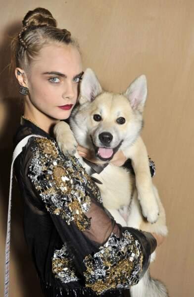 Cara Delevingne et son adorable chien ont piqué la vedette aux top model