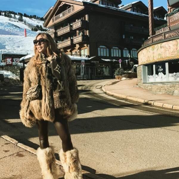 La solution de Cathy Guetta pour survivre l'hiver : la moumoute (même au niveau des mollets)...