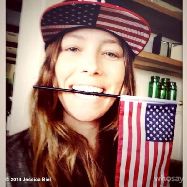 Jessica Biel aime son pays et elle le montre !