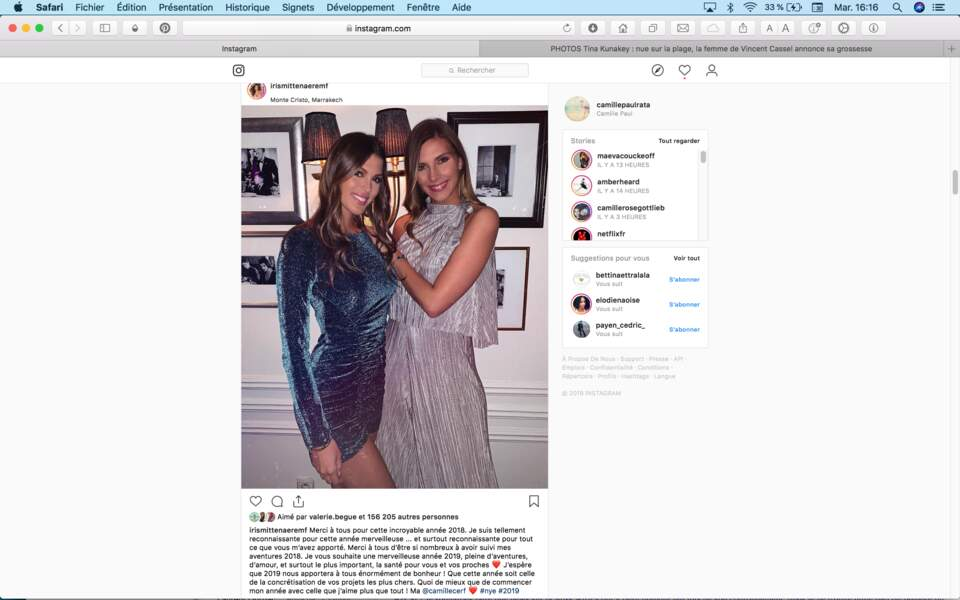 Iris Mittenaere et Camille Cerf ont réveillonné ensemble à Marrakech