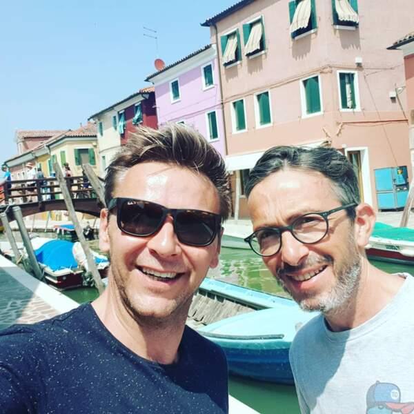 Jean-Fi Janssens et Florian Gazan, tout sourire, sur les gondoles à Venise