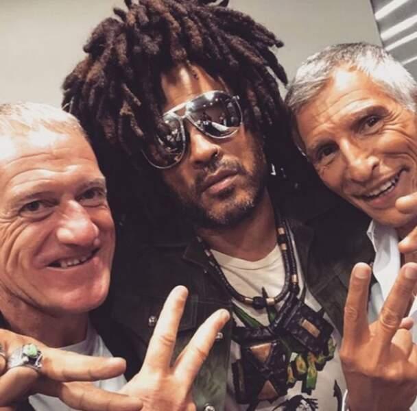 Insolite : Didier Deschamps, Lenny Kravitz et Nagui copains comme cochons