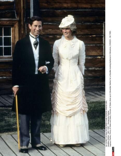 Le prince et la princesse de Galles à la mode Edwardienne en visite au Canada en 1983