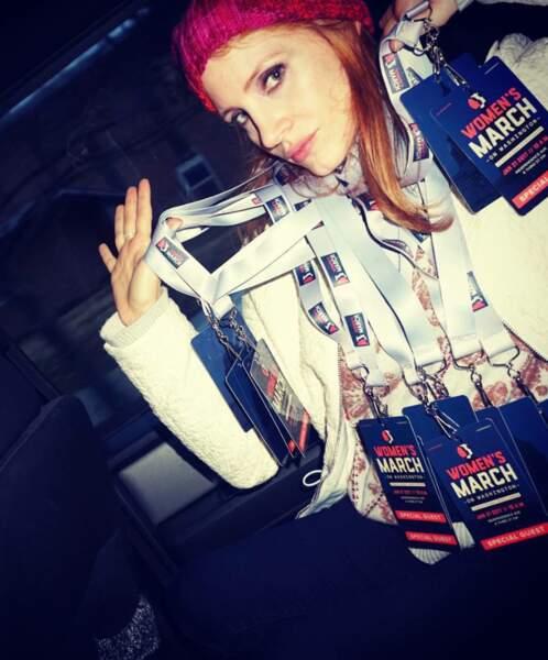 Jessica Chastain a fait une razzia de badges VIP pour son entourage