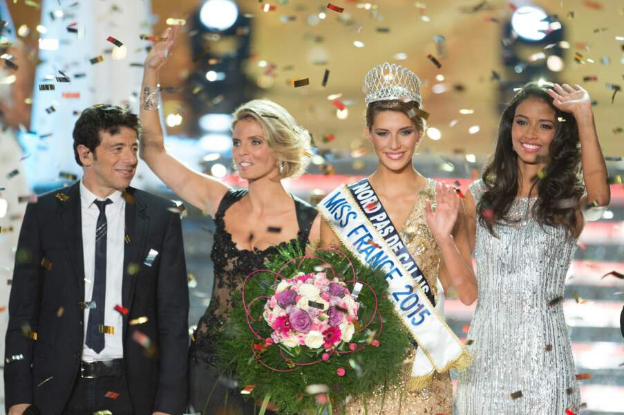 Patrick Bruel, Sylvie Tellier, Flora Coquerel et la nouvelle Miss France sous une pluie de confettis.