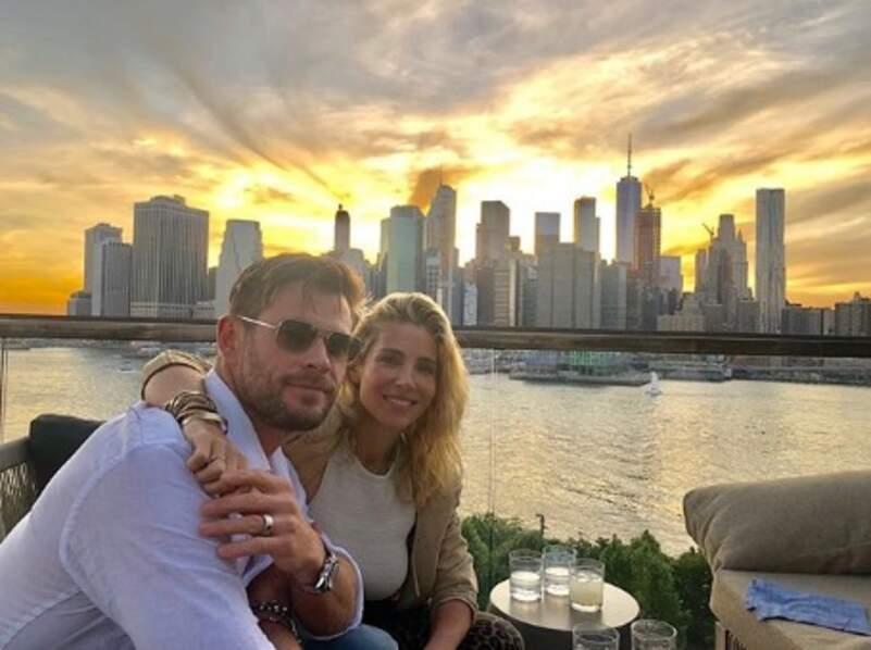 Chris Hemsworth et Elsa Pataky ont profité du coucher de soleil sur New York.