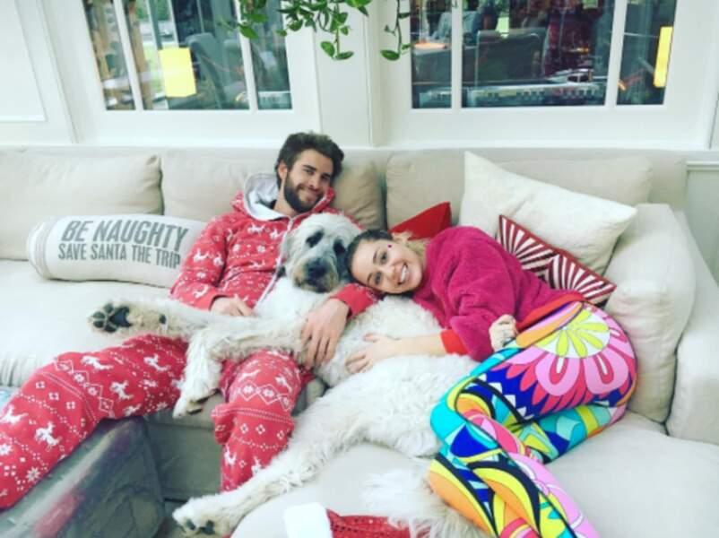 Liam Hemsworth et Miley Cyrus avec leur gros chien Doras