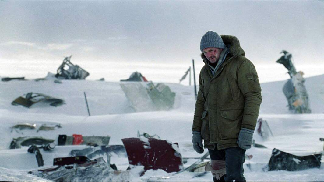 Liam Neeson devant la carcasse de son avion dans Le Territoire des loups (2011)