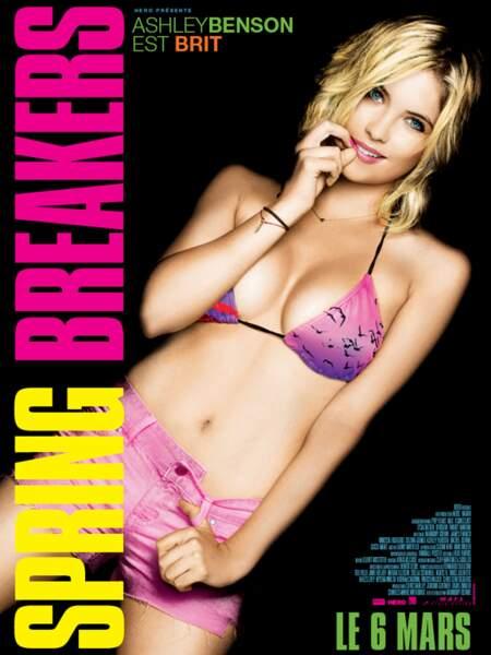 Affiche de Spring Breakers avec Ashley Benson et son regard troublant