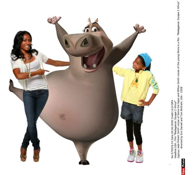 Mère et fille, Willow et Jada prêteront leur voix au personnage Gloria du film Madagascar.