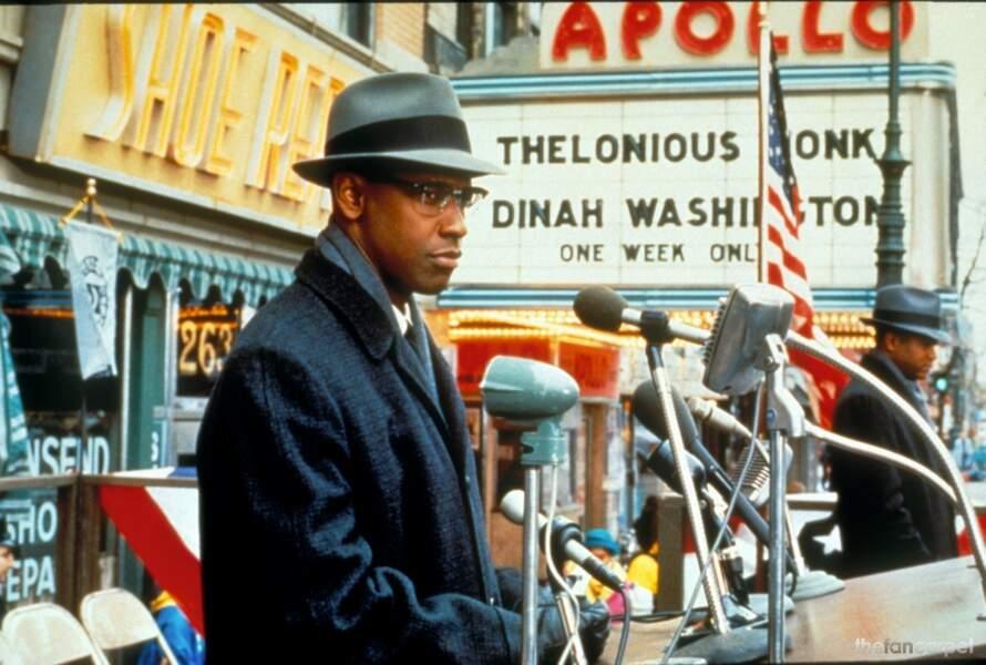 Denzel Washington, inoubliable sous les traits de Malcolm X, leader du mouvement noir américain Nation of Islam.