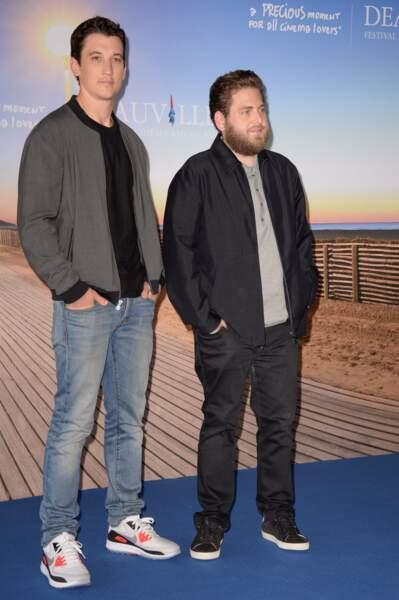 Miles Teller et Jonah Hill à l'avant-première de War Dogs au Festival de Deauville