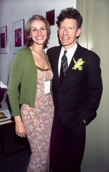 1993 Julia Roberts rencontre, le chanteur de country, Lyle Lovett sur le tournage de The Player.