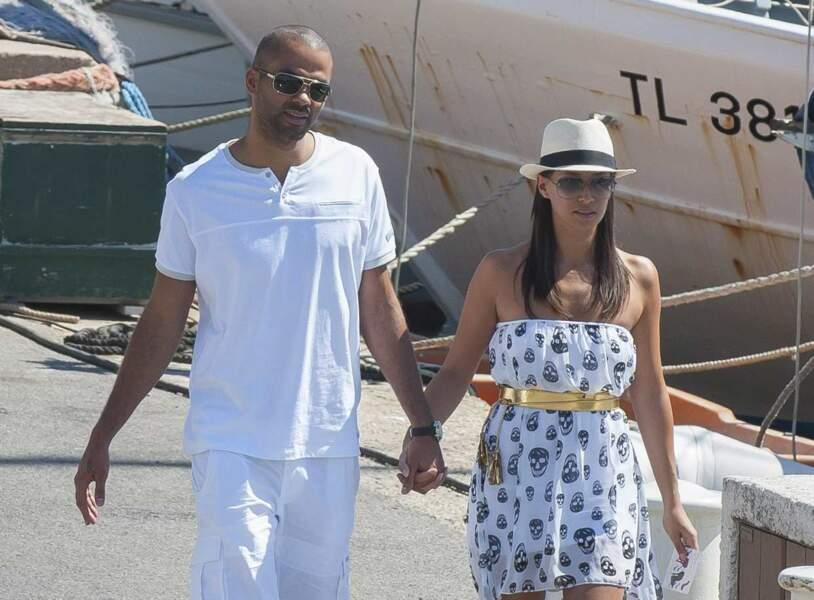 Tony Parker et sa compagne Axelle Francine à Saint-Tropez