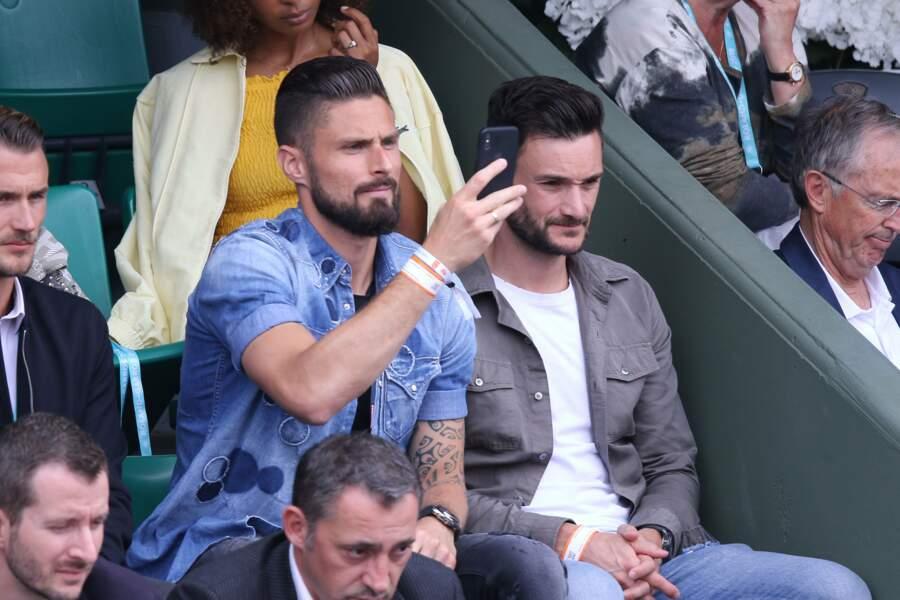 Avant le Mondial de foot en Russie, Olivier Giroud et Hugo Lloris s'accordent du bon temps à Roland-Garros