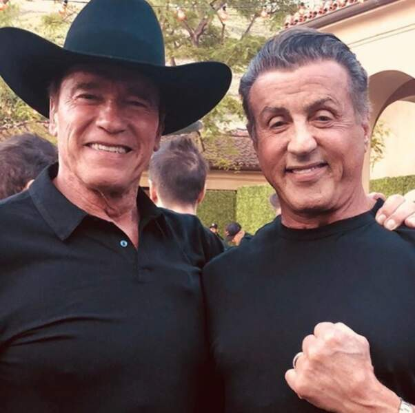 Et Arnold Schwarzenegger portait son plus beau chapeau de cow-boy pour poser avec son copain Sylvester.
