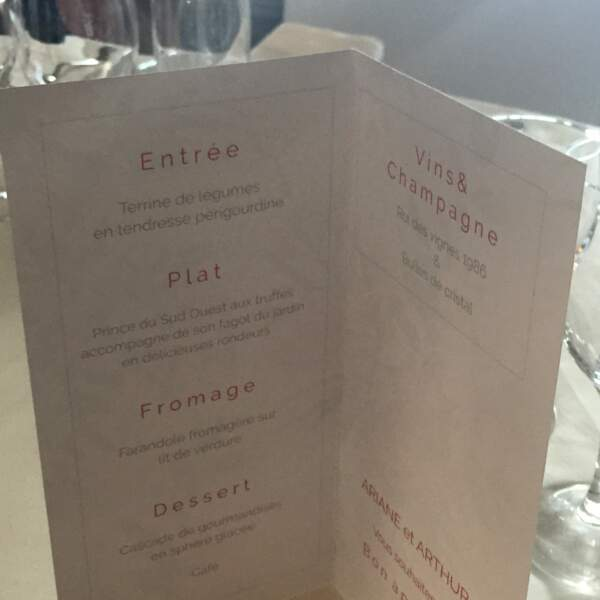 Même le menu est alléchant !