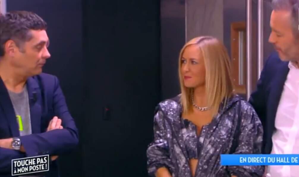 Jean-Michel Maire et Thierry Moreau ont l'air perplexes devant la tenue d'Enora Malagré