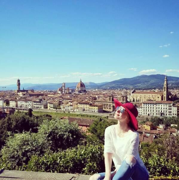 Jessica Chastain a admiré la vue à Florence.