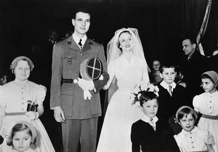 17 mars 1956, Bernadette Chodron de Courcel s'unit à Jacques Chirac, son comparse de Sciences Po