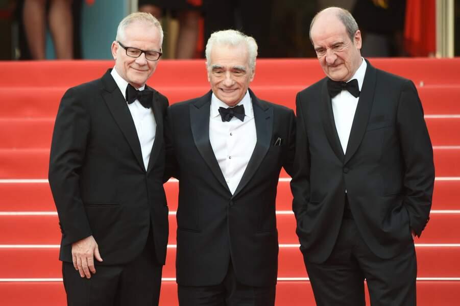 Martin Scorsese entouré de Thierry Frémeaux et Pierre Lescure