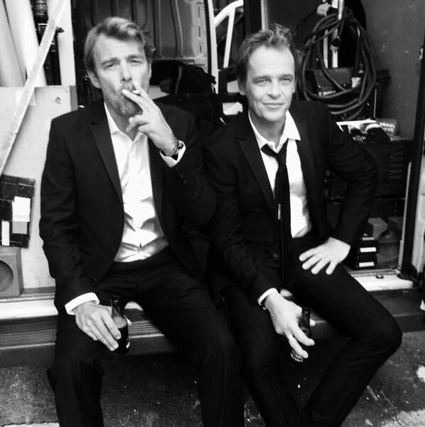 Petit moment de pause pour Patrick Puydebat (Nicolas) et Serge Gisquière (Peter) durant le tournage