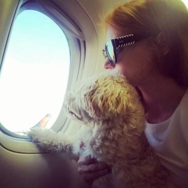 Sur Instagram, elle a immortalisé son voyage en photo avec son chien. Trop chou !