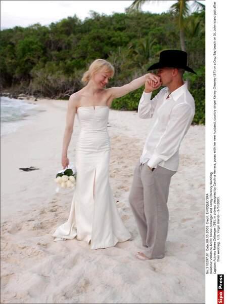 Mariage court (4 mois) mais paradisiaque (Iles Vierges) pour Renée Zellweger et le chanteur Kenny Chesney en 2005