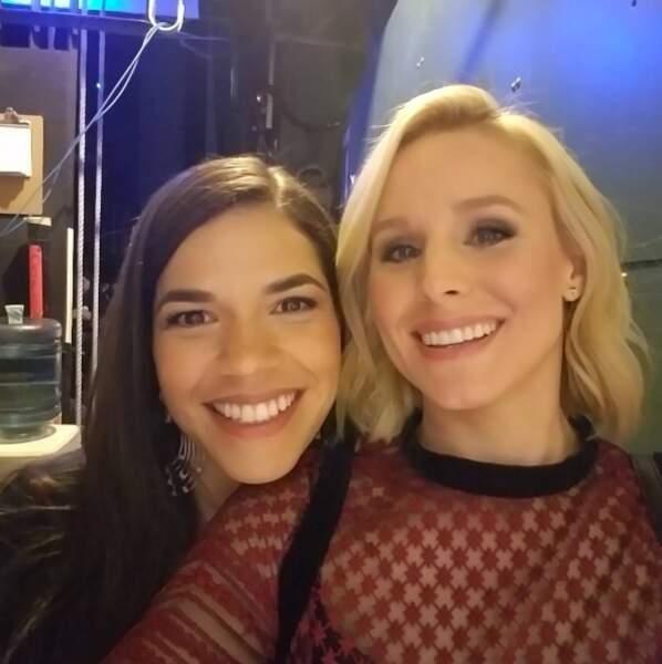Deux des idoles des accros aux séries des années 2000 réunies : America Ferrera et Kristen Bell.